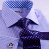 B2B Shirts - Purple Blue Designer Checkered Formal Business Dress Shirt With Blue Check Inner Lining - Business to Business