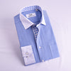 B2B Shirts - Blue Herringbone Contrast Cuffs Professional Dress Shirt In Single Cuffs in Size 40 - Business to Business