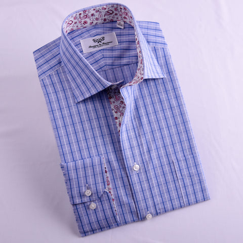 B2B Shirts - Blue Check With Pink Paisley Inner Lining Professional Dress Shirt in Single Cuffs in Size 40 - Business to Business