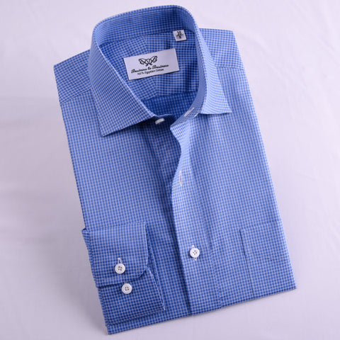 B2B Shirts - Dark Blue Check Professional Dress Shirt in Single Cuff in Size 39 - Business to Business