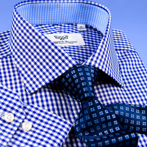 B2B Shirts - Blue Gingham Check Shirt Formal Business Mens With Light Blue Hounds-Tooth Inner Lining - Business to Business