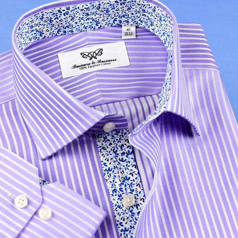 B2B Shirts - Classic Lilac Mini Herringbone Shirt Formal Business Mens With Floral Inner Lining - Business to Business