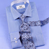 B2B Shirts - Blue Herringbone With Light Floral Inner Lining Professional Dress Shirt in Double French Cuff in Size 40 - Business to Business