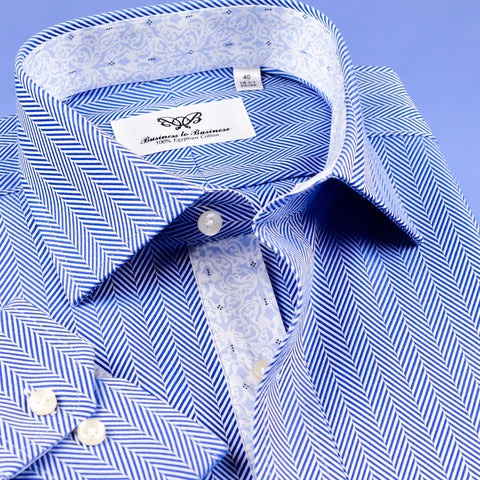 B2B Shirts - Professional Blue Herringbone Shirt Formal Business Mens With Subtle Floral Inner Lining - Business to Business