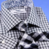 B2B Shirts - Black & Grey Gingham Check Shirt Formal Business Mens With Subtle Floral Inner Lining - Business to Business