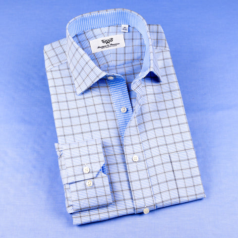 B2B Shirts - Light Blue Check With Fashionable Inner Lining Professional Dress Shirt in Double Cuff in Size 40 - Business to Business