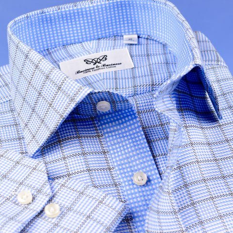B2B Shirts - Fashionable Designed Light Blue Checkered  Shirt Formal Business Mens With Light Blue Inner Lining - Business to Business