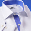 B2B Shirts - White Twill Dress Shirt Formal Business Mens Stylish Blue Inner Lining - Business to Business