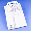 B2B Shirts - Classic White Herringbone Business Formal Dress Shirt With Blue Trim Line Inner Lining - Business to Business