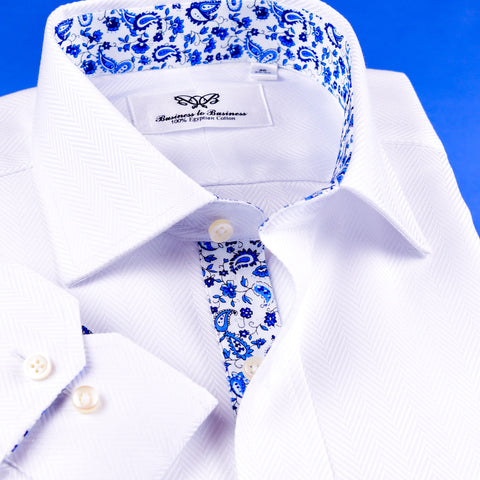 B2B Shirts - New Arrival White Herringbone Twill Dress Shirt Formal Business Mens Stylish Blue Paisley Inner Lining - Business to Business