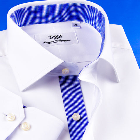 B2B Shirts - New Arrival White Mini Twill Dress Shirt Formal Business Mens Stylish Blue Check Inner Lining - Business to Business