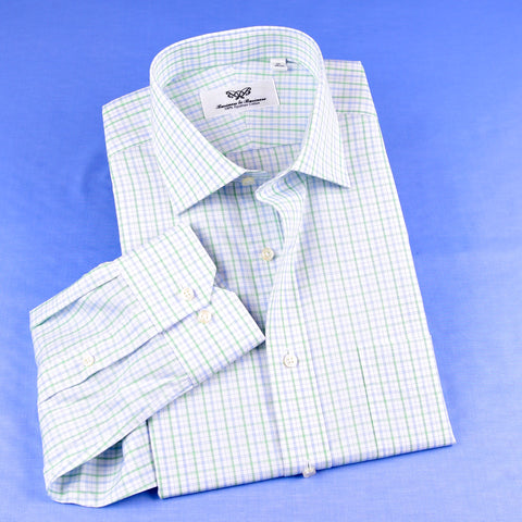 B2B Shirts - Green Check Professional Dress Shirt in Single Cuffs In Size 40 - Business to Business