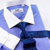B2B Shirts - New Arrival Blue Mini Check Contrast Dress Shirt Formal Business Mens Stylish Top Smart - Business to Business