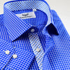 B2B Shirts - Dark Blue Check Dress Shirt Formal Business Mens Stylish With Fashionable Inner Lining - Business to Business
