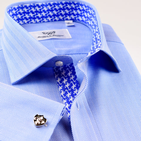 B2B Shirts - Classic Blue Herringbone Dress Shirt Formal Business Mens Stylish Professional Smart Ego - Business to Business