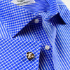 B2B Shirts - Fashionable Designed Blue Stripe With Blue Gingham Collar & Cuffs  Business Formal Dress Shirt With Blue Trim Line Inner Lining - Business to Business