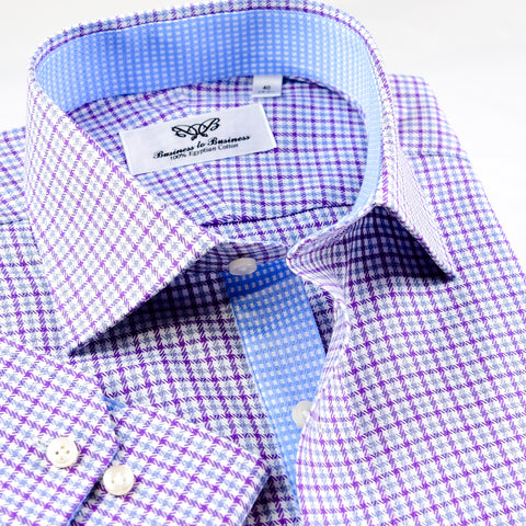 B2B Shirts - Fashionable Designed Lilac Checkered  Shirt Formal Business Mens With Light Blue Inner Lining - Business to Business