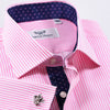 Pink Stripe With Navy Ego Paisley Inner Lining Dress Shirt Classic Fit
