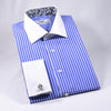 Light Blue Stripe White Collar and Cuffs Contrast With Paisley Inner Lining Dress Shirt