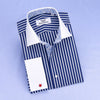 B2B Shirts - Navy Blue Striped White Spread Collar French Cuff Business Formal Shirt Top - Business to Business