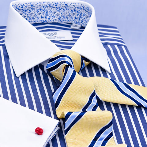 B2B Shirts - A+ Blue Striped Dress Shirt Formal Contrast French Cuff Business Fashion Floral Top - Business to Business