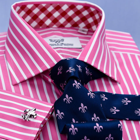 B2B Shirts - A+ Red Pink Striped Formal Business Dress Shirt Wrinkle Free Plaids & Checks French in Double Cuffs - Business to Business