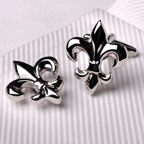B2B Shirts - Silver Chrome Fleur-De-Lis Reflective Men's Cufflinks Mardi Gras Saints Jewelry - Business to Business