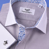 B2B Shirts - Gray Floral Dress Shirt Formal White Contrast Collar French Cuff Business Style - Business to Business