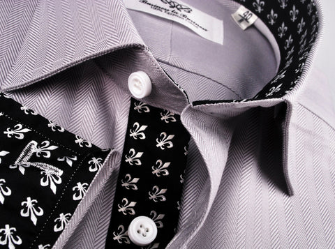 B2B Shirts - Grey Herringbone Formal Business Dress Shirt with Black and White Fleur-De-Lis Inner-Lining - Business to Business