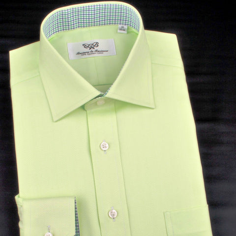 B2B Shirts - Lime Green Herringbone Twill Formal Business Dress Shirt in Button Cuffs - Business to Business