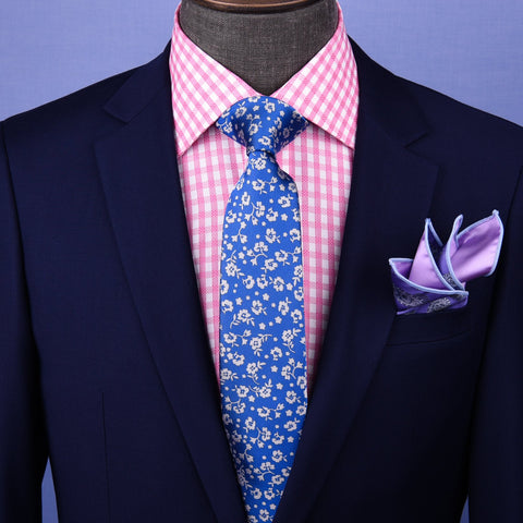 "B2B Shirts - White Flower Blue Tie Skinny 3"" Floral Necktie Designer Fashion Mens Accessory - Business to Business"