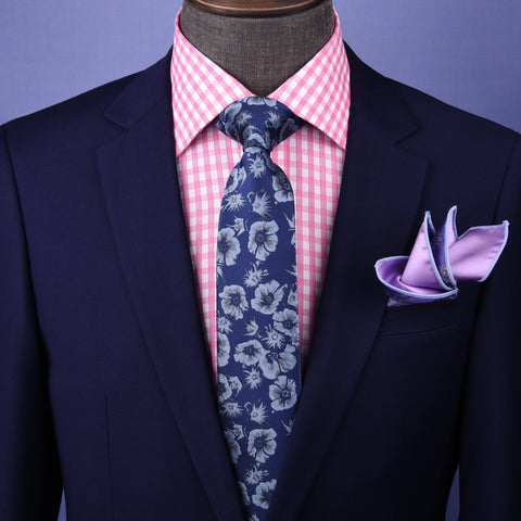 "B2B Shirts - Blue Italian Floral 3"" Necktie Business Elegance For Formal Business Ocassion - Business to Business"