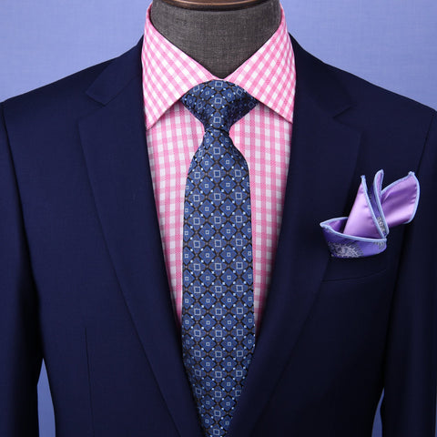 "B2B Shirts - Blue Italian Pattern 3"" Necktie Business Elegance For Formal Business Occasion - Business to Business"