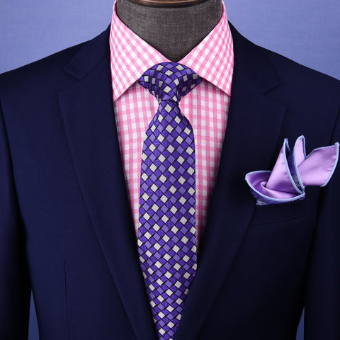 "B2B Shirts - Blue & Pink 3"" Italian Necktie Business Formal Elegance For Smart Men's Ego - Business to Business"