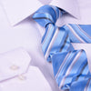 "B2B Shirts - Blue & Silver Stripe 3"" Necktie Business Formal Elegance For Smart Men's Ego - Business to Business"