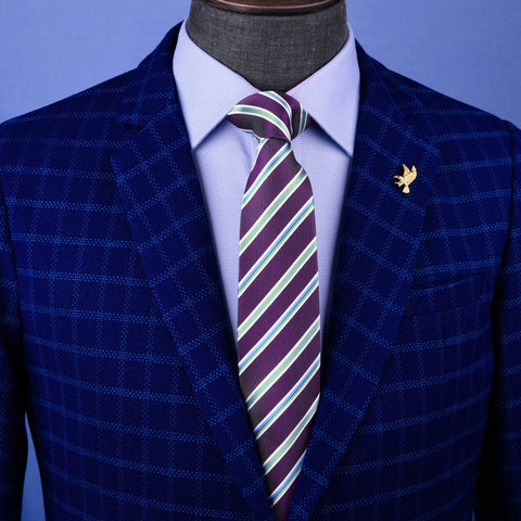 B2B Shirts - Sexy Purple & Green Formal Business Striped 3 Inch Tie Mens Professional Fashion - Business to Business