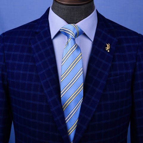 B2B Shirts - Blue & Yellow Sexy Formal Business Striped 3 Inch Tie Mens Professional Fashion - Business to Business