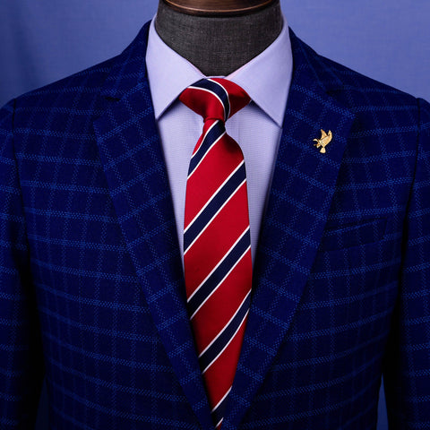 B2B Shirts - Red & Blue Sexy Formal Business Striped 3 Inch Tie Mens Professional Fashion - Business to Business