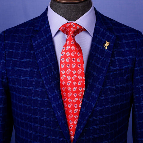 "B2B Shirts - Red Baroque Luxury Blue 3.15"" Woven Tie Skinny Formal Mens Business Fashion Knot - Business to Business"
