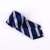 B2B Shirts - Silver & Navy Boss Formal Business Striped 3 Inch Tie Mens Professional Fashion - Business to Business