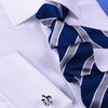 B2B Shirts - Blue & Silver Striped Formal Business Dressy Fashion Standard 3 Inch Tie - Business to Business