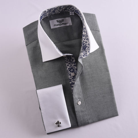 B2B Shirts - Grey Contrast Professional Dress Shirt in Double French Cuff in Size 40 - Business to Business