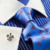 Blue Stripe White Collar and Cuffs Contrast Dress Shirt Classic Fit
