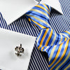 Mini Navy Blue Stripe Contrast White Collar And Cuffs With Floral Inner Lining Dress Shirt Classic Fit