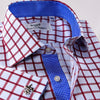 Exclusive Red Gingham Check Business Shirt Formal Boss Blue Sexy Design Contrast