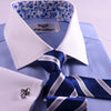 B2B Shirts - B2B Blue Luxury Herringbone Formal Business Dress Shirt with Paisleys Inner Lining - Business to Business