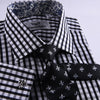 B2B Shirts - Unique Designed Black Check Formal Business Dress Shirt Designer Checkered Inner Lining - Business to Business