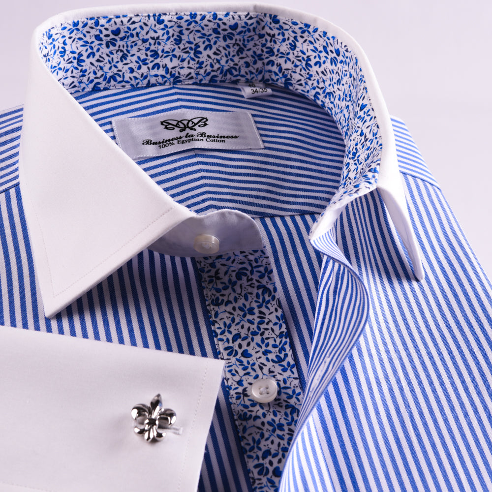 Blue Navy Formal Business Dress Shirt White Floral Contrast French Double Cuff