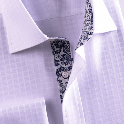B2B Shirts - New Arrival White Checks On Twill Formal Business Dress Shirt With Fashion Inner-Lining - Business to Business
