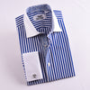 B2B Shirts - Navy Blue Striped Dress Shirt Formal Contrast Collar and French Cuff Business Fashion Design - Business to Business